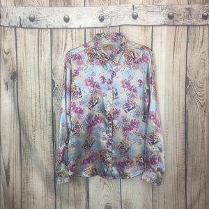 Wrangler Metallic Floral Pearl Snap Shirt Medium